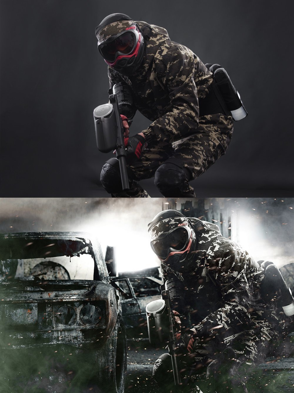 Photoretouching Before After, Paintball